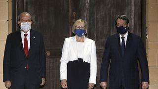 KKTC Cumhurbaşkanı Ersin Tatar , Rum Lider Nikos Anastasiadis ile BM Genel Sekreteri'nin Kıbrıs Özel Danışman Vekili Elizabeth Spehar