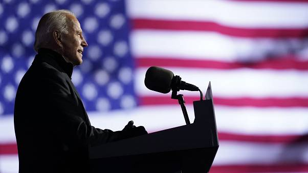 Democratic presidential candidate former Vice President Joe Biden speaks at a drive-in rally at Heinz Field, Monday, Nov. 2, 2020, in Pittsburgh.