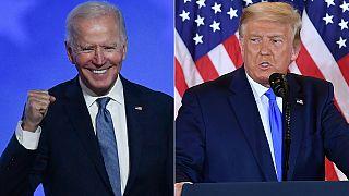 Democratic presidential nominee Joe Biden gestures after speaking and US President Donald Trump during election night
