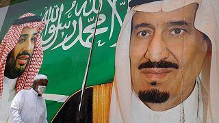 صورة للملك سلمان بن عبد العزيز آل سعود وولي العهد السعودي محمد بن سلمان في الرياض