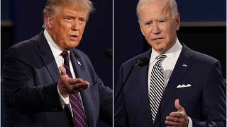 File: President Donald Trump, left, and former Vice President Joe Biden during the first presidential debate in Cleveland, Ohio. Sept. 29, 2020.