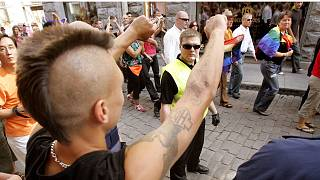 A right-wing skinhead threatens participants 11 August 2007 in central Tallinn during the Tallinn Pride Parade