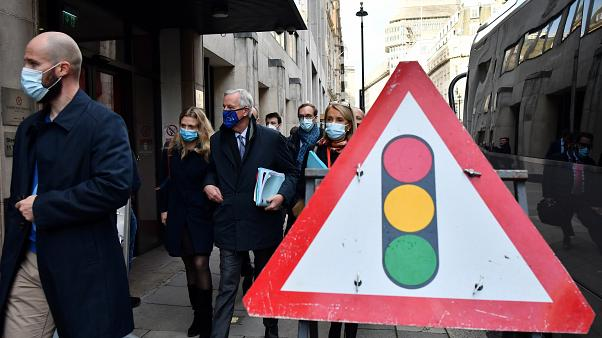 EU chief Brexit negotiator Michel Barnier, wearing an EU flag-themed facemask, in London on October 28, 2020 to attend the latest round of Brexit trade talks with the UK.