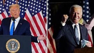 I due candidati parlano ai loro sostenitori mercoledì 4 novembre