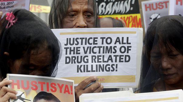 A drogellenes műveletekben meggyilkolt emberek miatti tüntetések egyike, Quezon, 2019