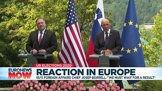 US Secretary of State Mike Pompeo and Slovenian PM Janez Jansa. Bled, August 2020