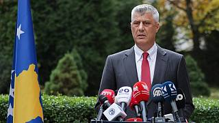 Kosovo president Hashim Thaci addresses the nation as he announced his resignation to face war crimes charges