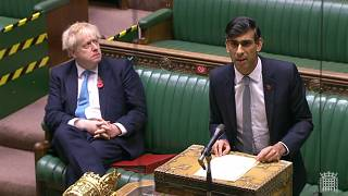 Britain's Chancellor of the Exchequer Rishi Sunak gives an update of the economy in the House of Commons in London on November 5, 2020.
