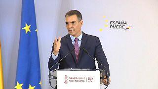 Pedro Sánchez, presidente del Gobierno español en una conferencia en Valencia, España.