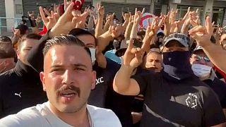 Ahmet Çetin Decines'de bir protesto eyleminde