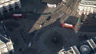 Aerials of quiet London streets as lockdown starts