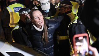 Protesta en Trafalgar Square, Londres, contra el reconfinamiento