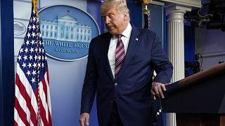Donald Trump tras su rueda de prensa