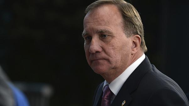 Sweden's Prime Minister Stefan Lofven leaves the European Council building at the end of an EU summit in Brussels, Tuesday, July 21, 2020.