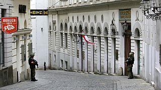 Polizeischutz vor der Synagoge in Wien, 3.11.2020