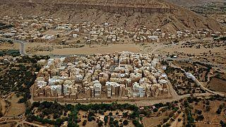 Vue aérienne de la ville de Chibam, dans le gouvernorat d'Hadramaout - Yémen -  le 17 octobre 2020