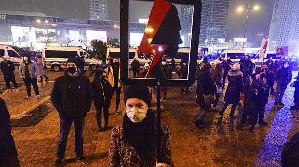 Protesters take part in the nationwide daily anti-government protests in Poland, which have entered a third week after a top court ruled to further tighten the abortion laws.