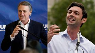 Senator David Perdue (Left) and Democratic challenger Jon Ossoff (Right)