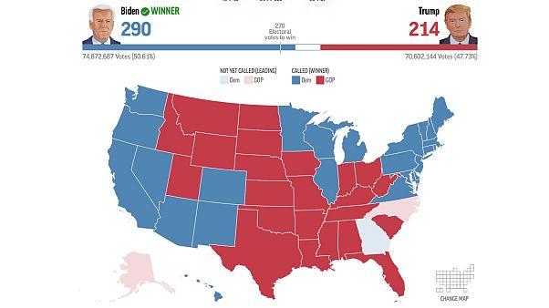 Az amerikai elnökválasztás kimenetele 2020. november 7-én, közép-európai idő szerint 20:00 órakor
