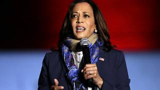 Democratic vice presidential candidate Sen. Kamala Harris, D-Calif., speaks to supporters during a campaign stop at the University of Houston Friday, Oct. 30, 2020, in Houston