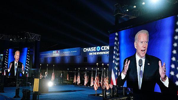 Joe Biden megválasztott elnök győzelmi beszéde Wilmingtonban, 2020. november 7-én