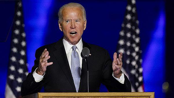 President-elect Joe Biden gives his victory speech on Saturday, November 7, 2020, in Wilmington, Delaware.