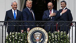 Israeli Prime Minister Benjamin Netanyahu, left, President Donald Trump, Bahrain's Khalid bin Ahmed Al Khalifa the UAE's Foreign Minister Abdullah Zayed al-Nahyan