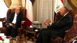 وزير الخارجية المصري سامح شكري يستقبل نظيره الفرنسي جان إيف لودريان في العاصمة القاهرة في 17 سبتمبر 2019.
