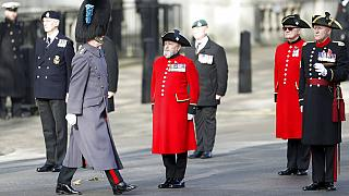 Veterans line up ahead of the start of the Remembrance Sunday service at the Cenotaph, in Whitehall, London, Sunday Nov. 8, 2020.