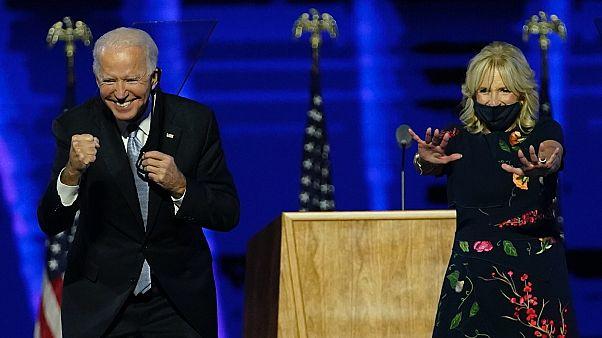 Joe Biden és felesége, Jill, megköszöni a támogatást Wilmingtonban, az eredményhirdetés után