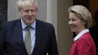In this Wednesday, Jan. 8, 2020 file photo, Britain's Prime Minister Boris Johnson greets European Commission President Ursula von der Leyen