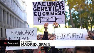 Pancartas de los manifestantes en MAdrid