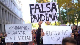 Hundreds protest against 'fake pandemic' in Madrid