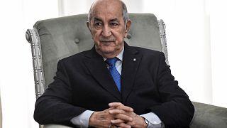 الرئيس الجزائري خلال لقاء مع وزير الخارجية الفرنسي. 2020/01/21
