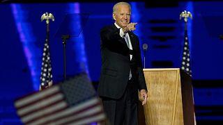 President-elect Joe Biden gestures to supporters Saturday, November 7, 2020, in Wilmington, Del.