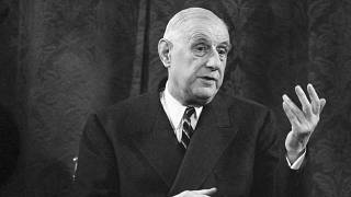 Le président français Charles de Gaulle lors d'une conférence à Paris, le 9 septembre 1965