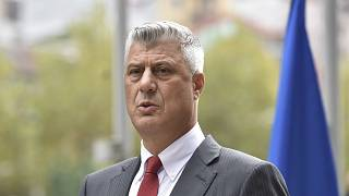 Kosovo president Hashim Thaci addresses the nation as he announced his resignation to face war crimes charges in Kosovo capital Pristina on Thursday, Nov. 5, 2020.