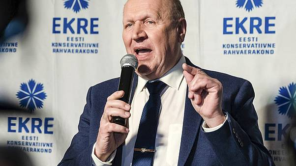 FILE: Monday, March 4, 2019, the then Chairman of the Estonian Conservative People's Party (EKRE) Mart Helme speaks at the headquarters after parliamentary election