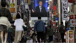 Joe Biden sur les télévisions du monde entier
