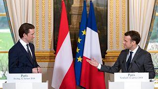 دیدار رئیسجمهوری فرانسه و صدراعظم اتریش در سال ۲۰۱۸