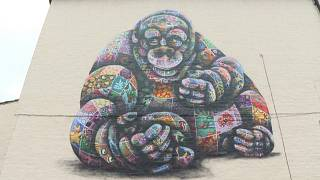 Mural of an orangutan by the street artist Louis Masai in London's neighbourhood of Charlton