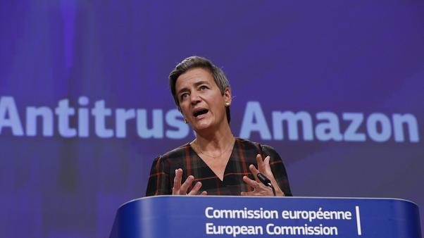 EU-Wettbewerbskommissarin Margrethe Vestager erläuterte in Brüssel die Vorwürfe gegen den Handelsgiganten