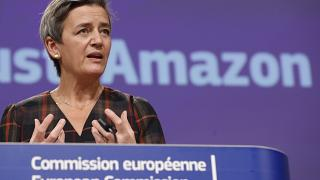 European Executive Vice-President Margrethe Vestager during a press conference regarding an antitrust case with Amazon in Brussels on Nov. 10, 2020.
