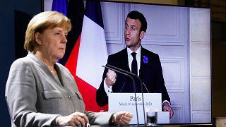 Almanya Başbakanı Merkel ile Fransa Cumhurbaşkanı Macron