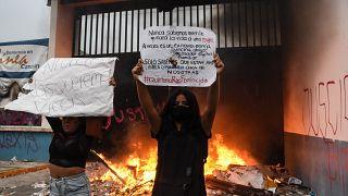 Manifestation contre les féminicides à Cancun, Mexique, 9 novembre 2020