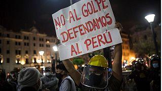 Protesta en Lima contra la destitución de Vizcarra y la investidura de Merino