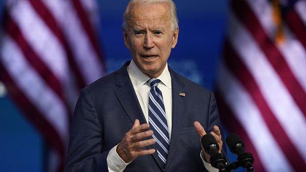 President-elect Joe Biden speaks Tuesday, Nov. 10, 2020, at The Queen theater in Wilmington, Del.