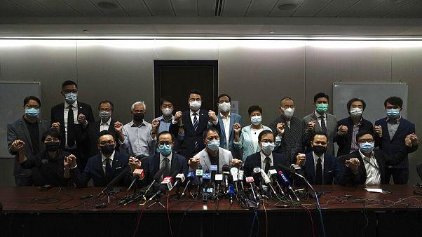 Die Pressekonferenz des Pro-Demokratie-Bündnisses in Hongkong