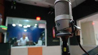 A microphone in a radio studio
