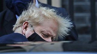 Britain's Prime Boris Johnson leaves 10 Downing Street to attend the weekly Prime Minister's Questions session in parliament, in London, Wednesday, Nov. 4, 2020. (AP Photo/Fra